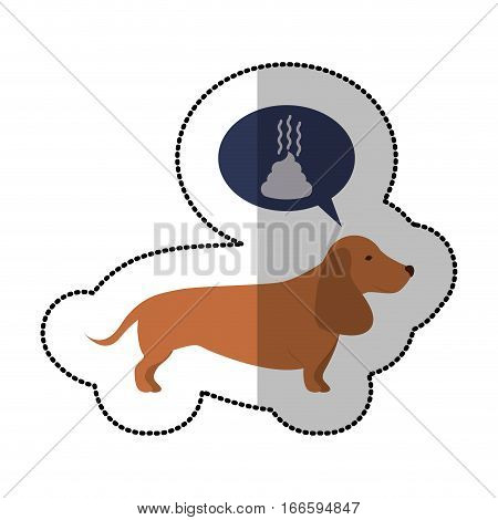 colorful image middle shadow sticker with dachshund dog thinking poop vector illustration
