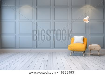 Modern interioryellow arm chair with wood table and white lamp on light gray wall 3d rendering