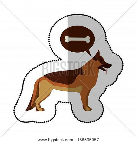 colorful image middle shadow sticker with german shepherd dog thinking bone vector illustration