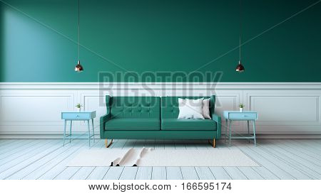Modern interior of living room with green armchairs on white flooring and dark green wall 3d rendering