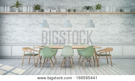 Minimalist interior White room with green chair and wood table white brick wall . Scandinavian style. 3D render
