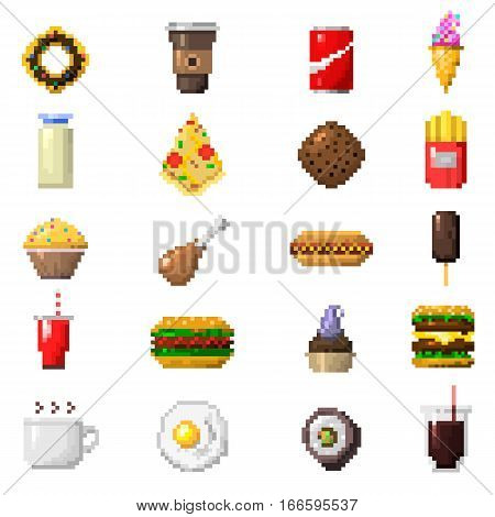 Set of pixel icons fruit sweet sign. Fast food computer design symbol retro game web graphic. Vector illustration restaurant pixelated element.