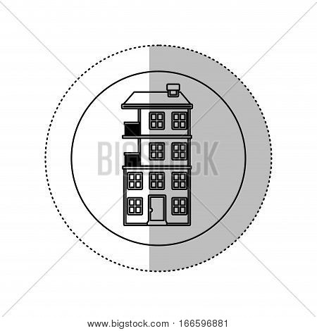 grayscale silhouette with middle shadow sticker in circle with apartment with several floors vector illustration