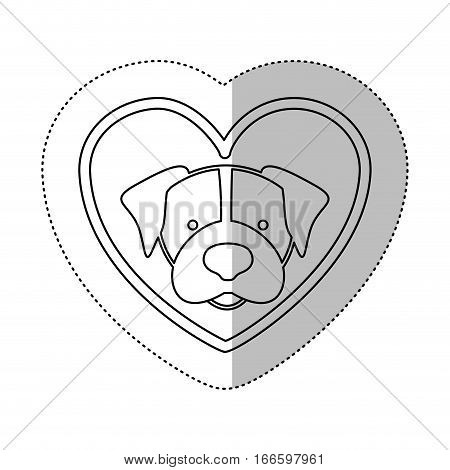 monochrome contour middle shadow sticker with beagle dog inside of heart vector illustration