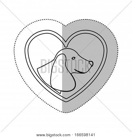monochrome contour with middle shadow sticker with dachshund dog inside of heart vector illustration