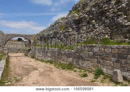 Aquaduct of roman ruins of the ancient city of Conimbriga Beiras region Portugal