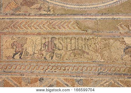 Mosaic Roman ruins of the ancient city of Conimbriga Beiras region Portugal