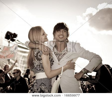 MOSCOW - JUNE 5: Singer Dima Bilan Eurovision 2008 Winner And Model Elena Kuletskaya. Muz-TV Awards 2009 at Olimpiisky Stadium on June 5, 2009 in Moscow, Russia.