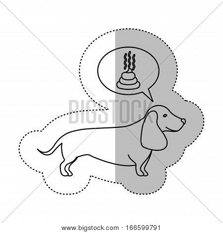monochrome contour middle shadow sticker with dachshund dog thinking poop vector illustration