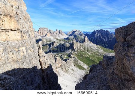 Sexten Dolomites Panorama With Mountains Birkenkofel, Haunold And Toblinger Knoten And Alpine Hut Dr