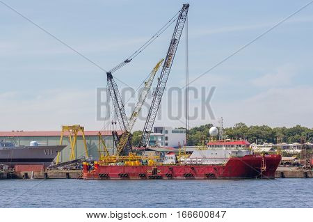 Labuan,Malaysia-Jan 20,2017:A ships under repair at shipyard in Labuan Pearl Of Borneo,Malaysia.
