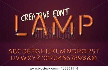 Creative realistic lamps font. Light Bulb Text Effect. Vector light bulb lamp alphabet isolated on vinous background. Vector illustration