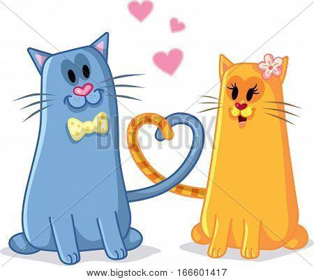 Cute Cats in Love Vector Cartoon Illustration