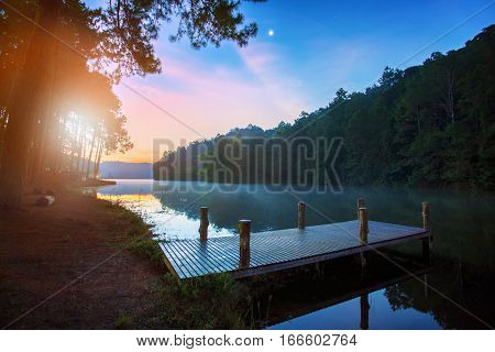 beautiful sun rising sky scenic at pang ung most popular traveling destination in mae hong son northern of thailand