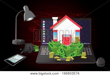 House key with money on a computer. icon. in the heart of burgundy background. Illustrations. Use for Website, phone, computer, printing, fabric, decoration design etc
