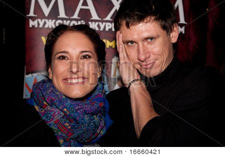 MOSCOW - SEPTEMBER, 23: Russian VJ Marika And Timur Batrutdinov. 100 Sexiest Women Of The Country Under  the Version of Maxim magazine at the Soho club. September, 23, 2009 in Moscow, Russia.