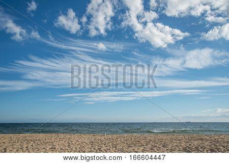 The sky and sand beach at St.Kilda, Melbourne, Australia.