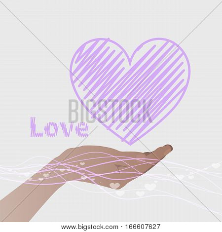 hand holding a heart with a purple line and the word love. Valentine s Day. on a gray background. Valentine s Day. Illustration. Use for Website phone computer printing fabric decoration design etc.