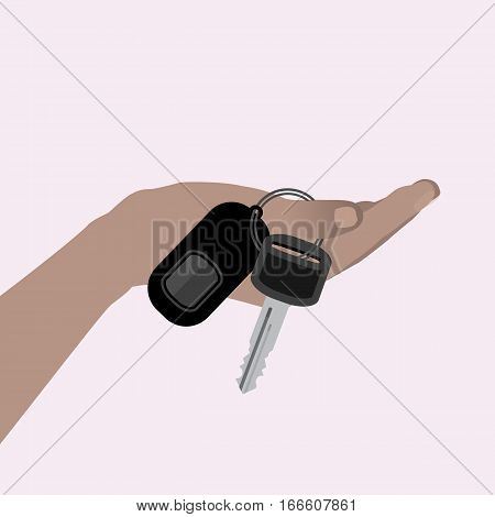 hand holding car keys. Valentine s Day. Illustrations. Use for Website, phone, computer printing fabric decoration design etc