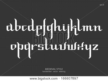 Vector alphabet set. Lowercase letters in Gothic medieval style simplified version. White letters on black background.