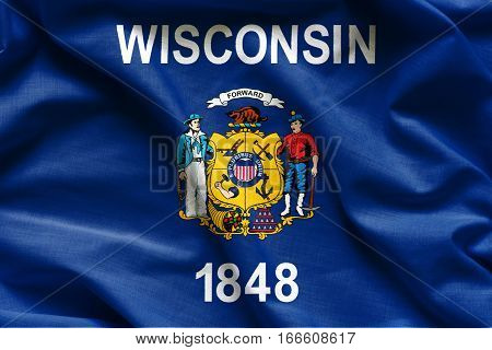 Flags of the U.S. states: Waving Fabric Flag of Wisconsin
