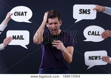 Stressed Man Using Cell Phone