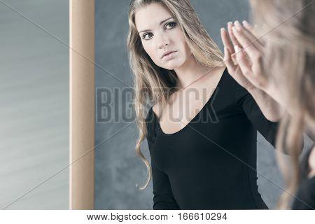 Girl Afraid Of Her Reflection