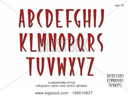 Vector alphabet set. Capital letters in cuneiform style. Red letters on white background.
