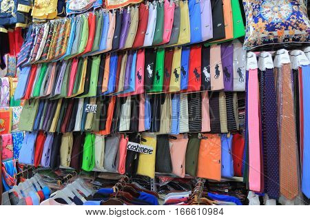 SHANGHAI CHINA - OCTOBER 31, 2016: Chinese silk shop at South Bund Fabric market. South Bund Fabric market is home to hundereds of tailors and is the prime destination for bespoke clothing garments.