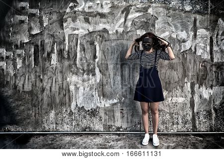 Beautiful Woman In Black Mask Standing In Scary Abandoned Building. Concept Of Wickedness, Sadness,