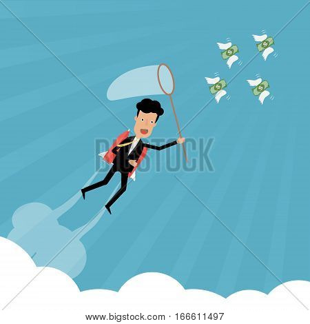Businessman with rocket catch the money banknote flying on sky with cloud and sunray. Vector illustration business concept of stock market conceptual design.