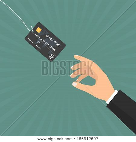 Businessman hand with credit card on fishing hook on sun ray background. Vector illustration business concept design.