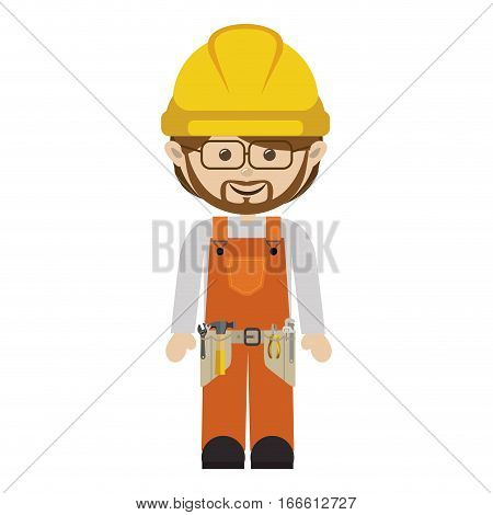 avatar worker with toolkit and beard vector illustration
