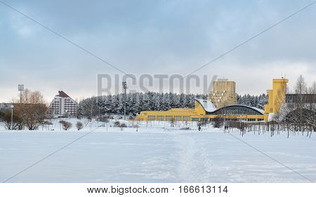 MINSK BELARUS - January 15 2017: Sports complex Olympic reserve. Pool National Olympic Training Center in athletics in Minsk Belarus. The former sports complex labor reserves .