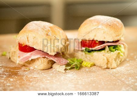 Pair Of Small Bacon, Lettuce, And Tomato Sandwiches