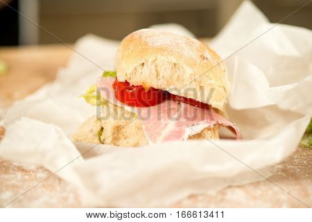 Small Blt Sandwich On Paper Wrap