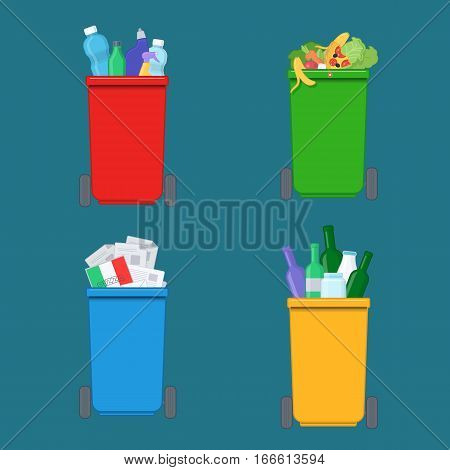 Separation of waste on colored garbage bins. Recycling bins with plastic paper glass and organic waste. Vector illustration in flat design