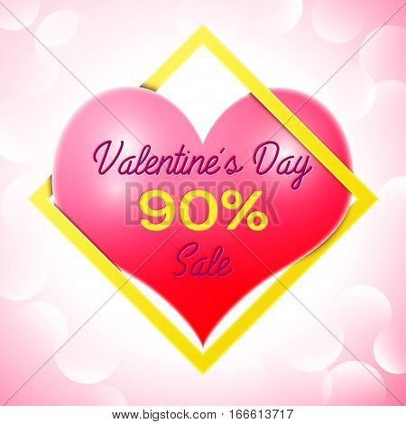 Realistic red heart with an inscription in centre text Valentines Day Sale 90 percent Discounts in yellow square frame. SALE concept for shopping, mobile devices, online shop. Vector illustration.