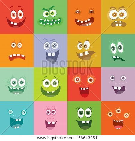 Smiling monsters set. Happy germ smile characters with tooth. Monsters with big eyes and mouths. Vector cartoon funny bacteria illustrations in flat style design. Friendly viruses. Microbe faces