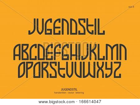 Vector alphabet set. Capital letters in the Art Nouveau style Egyptian graphics. Black letters on a yellow background.