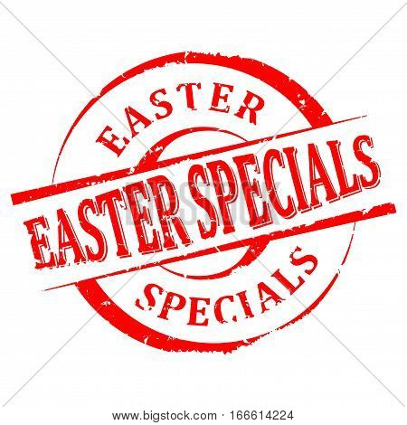 Scratched round red stamped - Easter specialties - vector