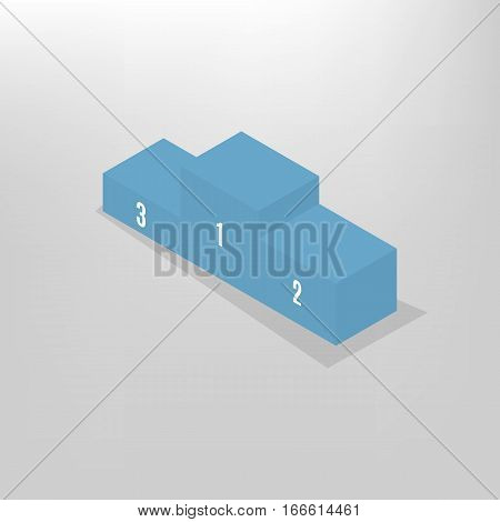 Pedestal for rewarding sportsmen isolated on white background. Flat 3D isometric style vector illustration.