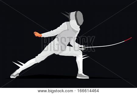 Cool swordsman. Vector illustration on a black background. Sports concept. Fencer.