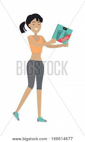 Woman holds bathroom scales with price reducing tag isolated on white. Foot scale electronic device sale. Measurement of weight equipment. Household appliance. Instrument for measuring weight. Vector