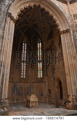 Detail of Unfinished Chapels at Monastery of Santa Maria da Vitoria Batalha Monastery Centro region Portugal