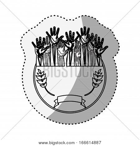 sticker silhouette circular border with olive branch and multiple hands up vector illustration