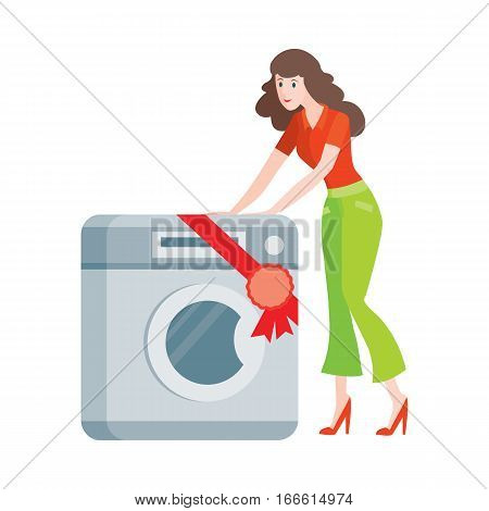 Woman buys washing machine in flat style isolated. Sale of household appliances. Electronic device. Home appliances. Laundry, washing machine. Electric clothes washer. Washer. Vector illustration
