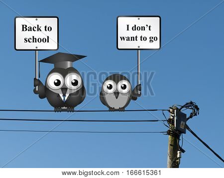 Comical teacher with back to school message and reluctant student perched on electrical cables