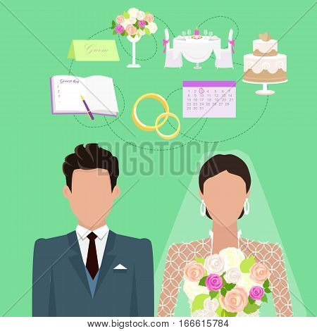 Wedding ceremony concept vector. Flat style. Faceless couple of newlyweds. Fiance and bride standing on green background, rings, organizer, invitation, bouquet, holiday table, wedding cake above