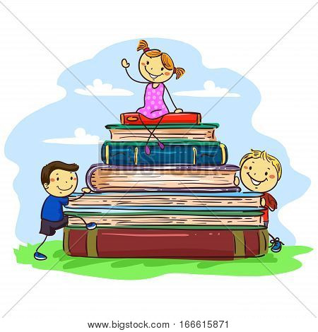 Vector Illustration of Stick Kids sitting on Pile of Book